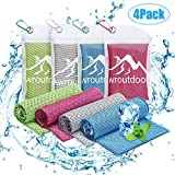 Awroutdoor Gym Ice Cooling Towels, 4 PCS Ice Sports Cool Cold Towel Quick