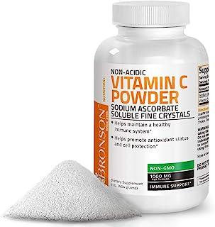 Non Acidic Vitamin C Powder Sodium Ascorbate Non GMO Soluble Fine Crystals - Healthy Immune System, Antioxidant and Cell P...