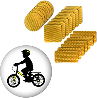 Muchkeky Reflective tape Stickers For Helmets Reflective Bike Stickers For Kids Waterproof High Visibility Safety Warning Tape Stickers Self-Adhesive 21Pcs Yellow