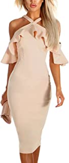 921e8dc81 Dokotoo Womens Frill Cold Shoulder Ruffle Sleeve Bodycon Midi Dress Party