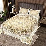 Boho Mandala Tagesdecke 240x260cm Schickes Bettüberwurf böhmischen Stil für Teenager Luxus Golden Weiß Mandala Dekor Steppdecke Exotisches Blumenmuster Wohndecke 3St