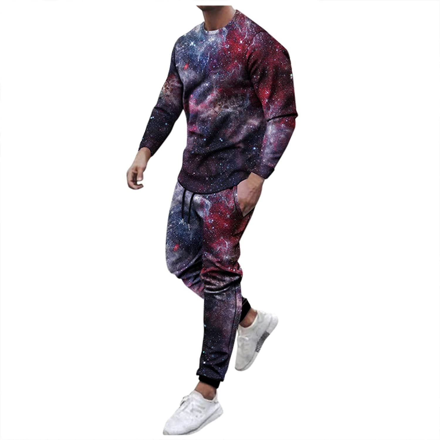 WOCACHI 2 Pieces Outfits Set for Mens, Street Printed Long Sleeve Tracksuits Sports Crewneck Tee Tops Pants Set