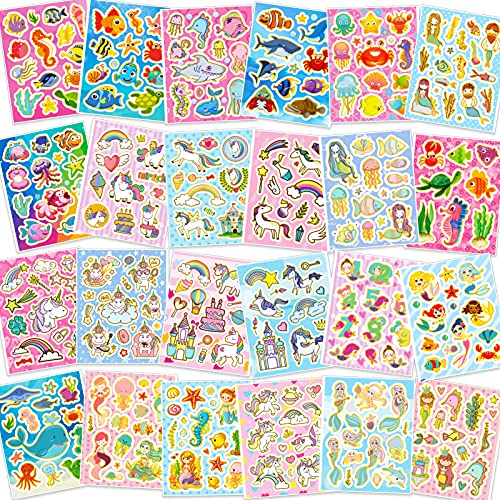 HOWAF 330+ Purpurina Pegatinas para Infantiles Niños Niñas Manualidades Pegatinas, DIY Scrapbooking Pegatinas Artesanía, Arcoíris Unicornio Princesa Stickers Sirena Vida Marina Pegatinas Animales