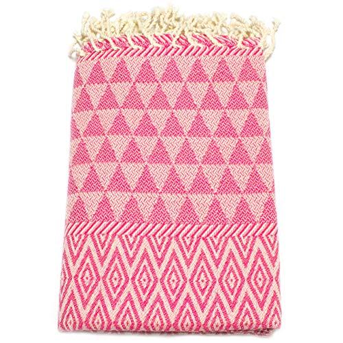 ANNA ANIQ Fouta Hamamtuch Strandtuch Saunatuch XXL Extra Groß 100x200 cm - (Diamant Muster) - 100% Baumwolle, Bade-Tuch, Picknick-Decke, Yoga, Pestemal, Strand-Handtuch (Pink)