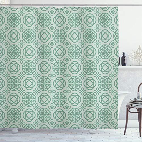 Ambesonne Celtic Shower Curtain, Retro Tribal Circle Knots Eternity Forms Pattern Boho Ireland Irish Floral Artwork, Cloth Fabric Bathroom Decor Set with Hooks, 70' Long, Reseda Green