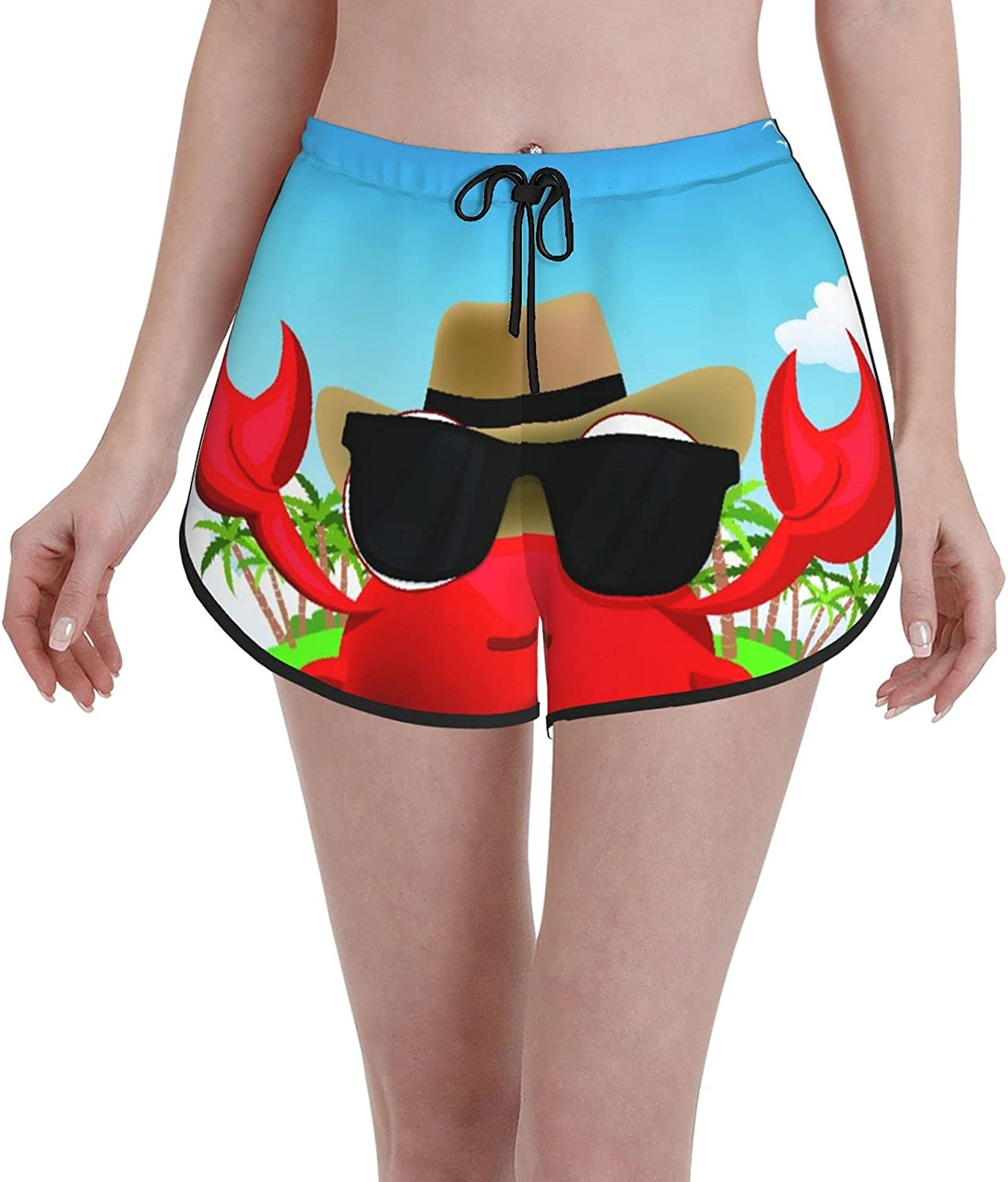 Women's Girl's Swim Trunks,Cool Crustacean with Black Sunglasses and A Hat Summer Vacation On Tropical Island,Beachwear Swimsuits Board Shorts Bathing Suits,M