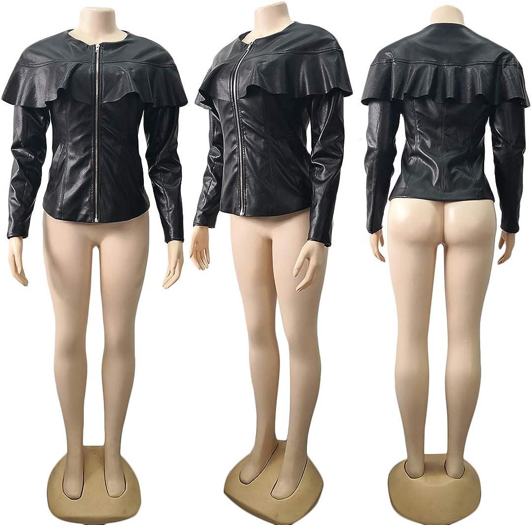 PAODIKUAI Women Sweet Zip Up Short Coat Jacket Long Sleeves Ruffle Faux Leather PU Jacket