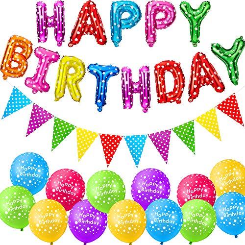 27 Stücke Polka Punkt Geburtstag Dekoration Set enthält 25 Stück 12 Zoll Polka Dot Luftballon, Runde Latex Ballon, 16 Zoll Happy Birthday Folien Banner und Polka Punkt Ammer Banner für Partyartikel