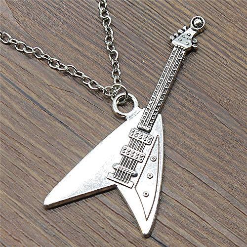 WYSIWYG 3 Piezas Colgantes De Cadena Larga De Metal 45Cm O 70Cm Colgantes Collar Colgante De Las Mujeres Guitarra Electrica 77x32mm