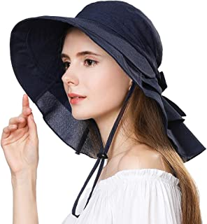 UV Protection Summer Sun Hat Women Packable Cotton Ponytail Chin Strap 55-59CM