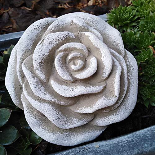 Radami Stein Rose Rosenblüte Blüte Blumen Steinguss frostfest wetterfest Garten Deko dunkelgrau