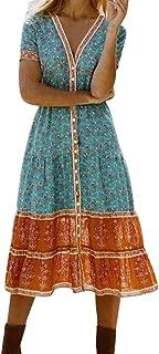 Respctful?Dress Women Casual Floral Printed Casual Swing T-Shirt Dress Loose Plain Maxi Dresses Casual Long Dress
