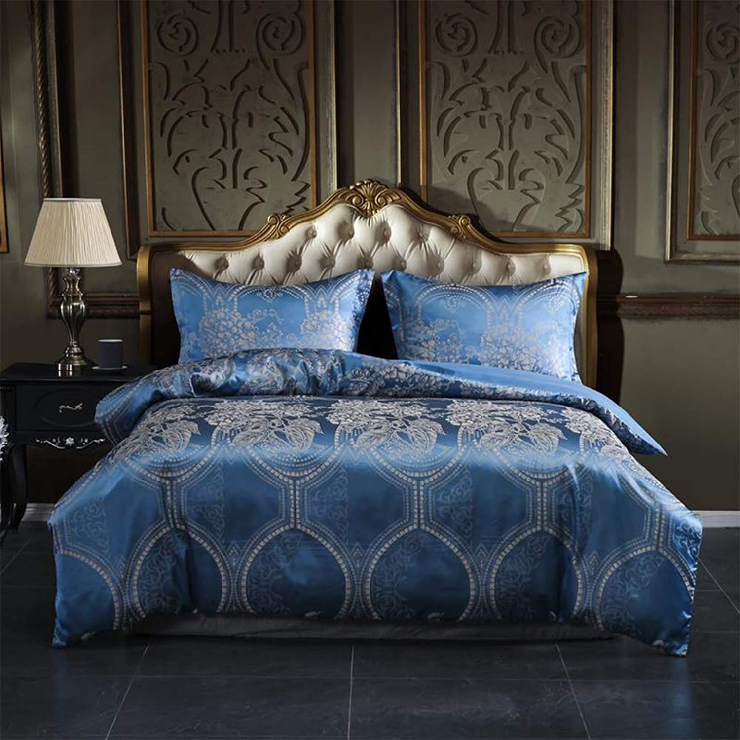 DuShow Silk Duvet Cover Set Queen bluee Jacquard 3 Pieces Soft (1 Duvet Cover + 2 Pillow Shams) Comforter Cover Set with Zipper Closure