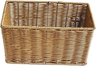 Lurrose Rotin De Paille Panier De Rangement en Osier De Stockage Bacs Thé Boîte De Rangement Tissé À La Main Plateau Panie...