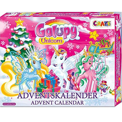 Craze Adventskalender GALUPY Unicorn Einhorn Spielfiguren wunderschöne Pferde Figuren zum Spielen + Zubehör 19450