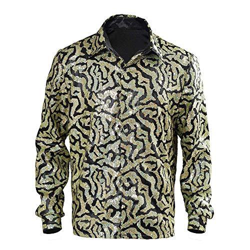 Camisa de Rey Tigre para Hombre, Camisa de botn de Lentejuelas Brillantes exticas con Sombrero y Peluca, Conjunto Completo para Disfraz de Cosplay de Halloween