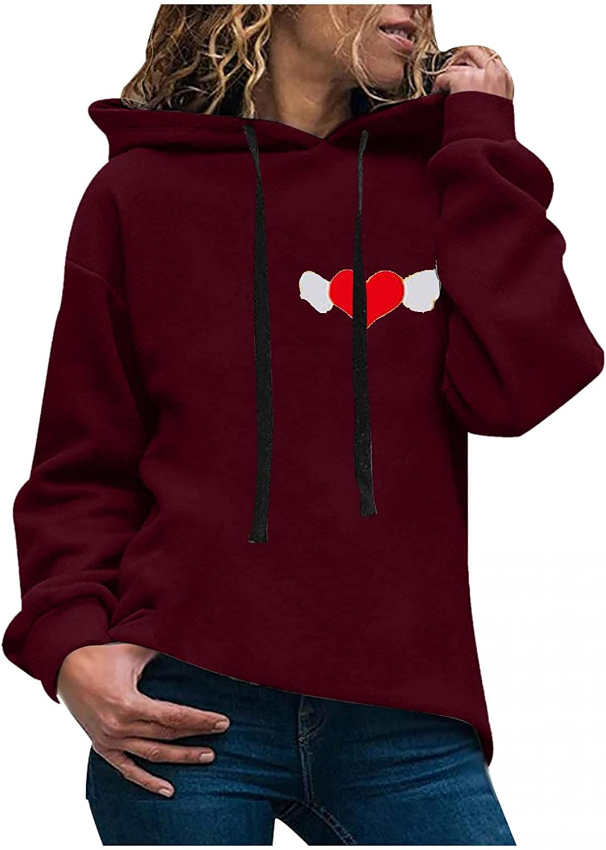 ONHUON Hoodies for Women,Women Fashion Heart Printed Long Sleeve Hooded Sweatshirt Pullover for Women Casual Hoodie Tops
