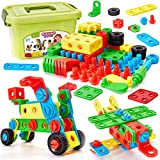 Buyger 96 Pezzi Blocchi di Costruzioni Mattoncini da Costruzione Fai da Te Puzzle Giocattolo Educativi per Bambini 3 4 5 Anni