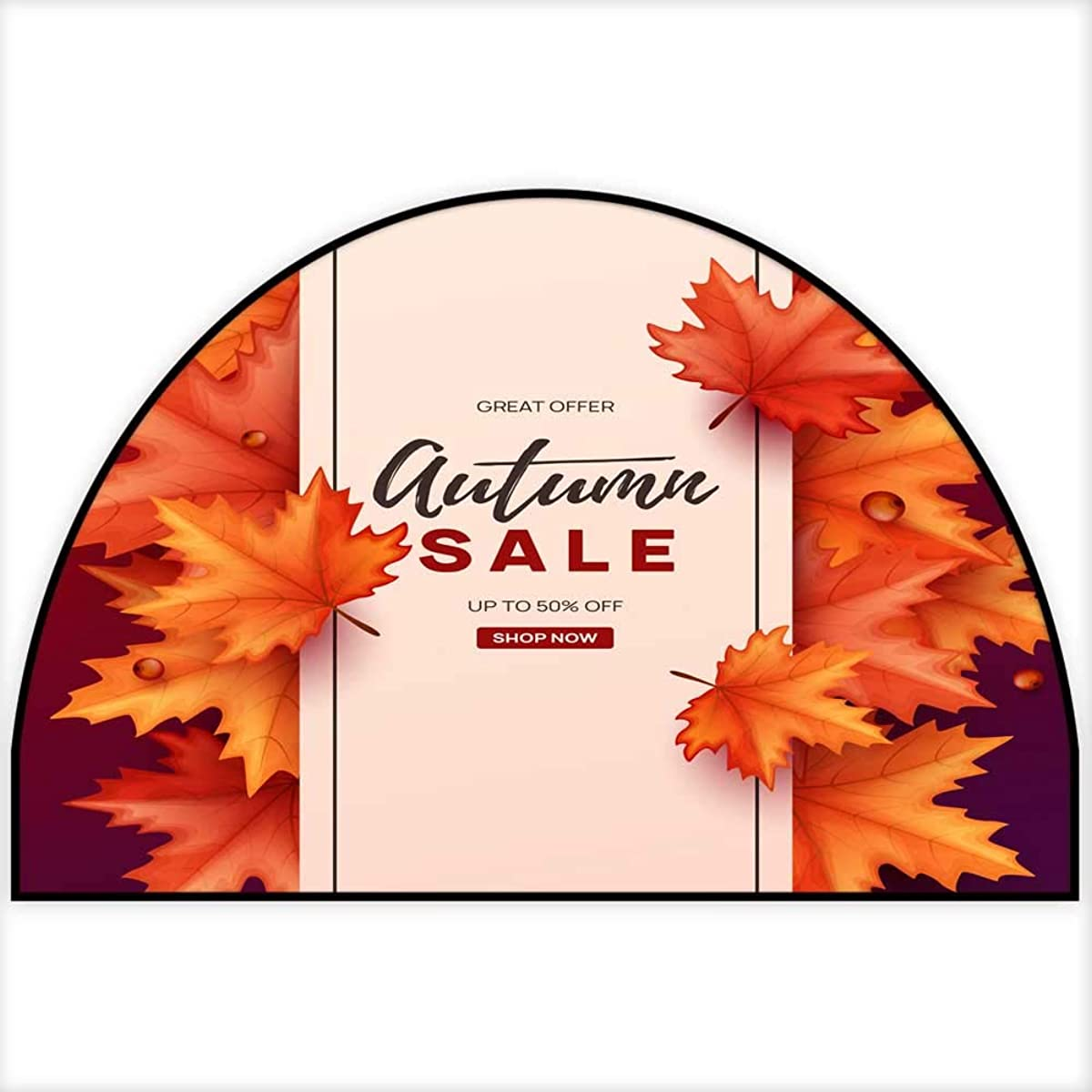 Hua Wu Chou Half Round Coir Door mathalf Round Dog mat W30 x H18 INCH Autumn Banner with Colorful leaves10