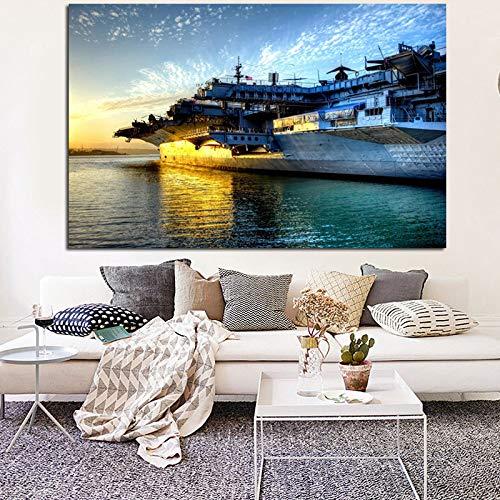 Moderne HD-Druck Flugzeugträger Midway Sunset Seascape Gemälde auf Leinwand Wandbild für Wohnzimmer Sofa Dekor 40x60CM