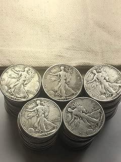 1916-1947 90% Silver Walking Liberty Half Dollar $50 Face Value Half Dollar Good -Very Good