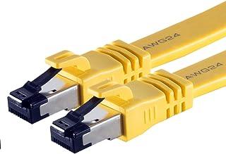 0.5m - Cat8.1 high end patchkabel platt gul - 1 bit 40 gigabit nätverkskabel Ethernet LAN-kabel 40000 Mbits 2000 Mhz patch...