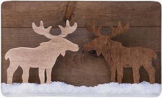 InterestPrint Christmas Decoration Timber Elk Moose Couple on White Snow Doormat Indoor Outdoor Entrance Rug Floor Mats Sh...