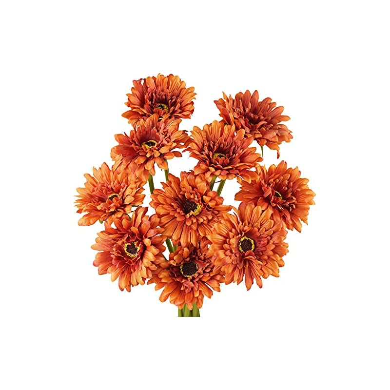 silk flower arrangements fiveseasonstuff gerbera daisy autumn burnt orange artificial silk flowers arrangement & wedding bouquet (fade resistant)