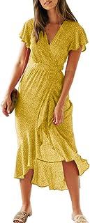Chuanqi Womens V Neck Polka Dot Short Sleeve Boho Wrap Dress Summer Beach Party Vintage Long Maxi Dress with Belt