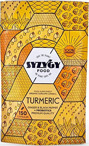 SYZYGY FOOD | Cúrcuma con Jengibre y Pimienta Negra + PROBIÓTICOS | 150 Cápsulas de 760mg | Certificación BIO | Sin Excipientes | Antiinflamatorio y Antioxidante | Formula Avanzada | Máxima Absorción