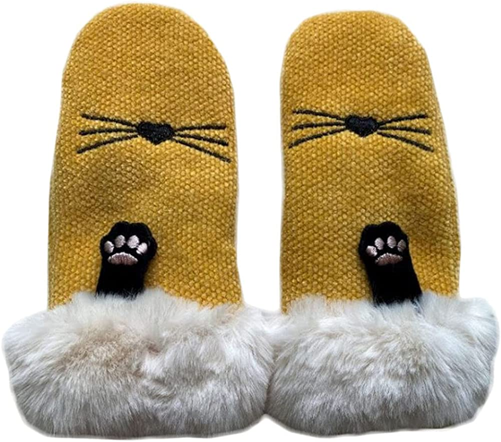 Winter Mittens For Women Cute Cat Paw Knit Mitten Windproof Warm Fluffy Glove Cycling Running Work Cold Weather