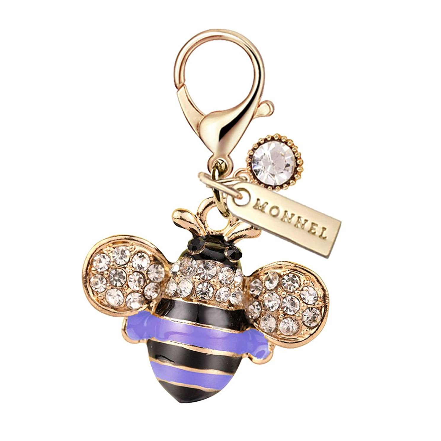 MC63 New Arrival Cute Crystal Blue Bee Lobster Clasp Charms Pendants with Pouch Bag (1 Piece)