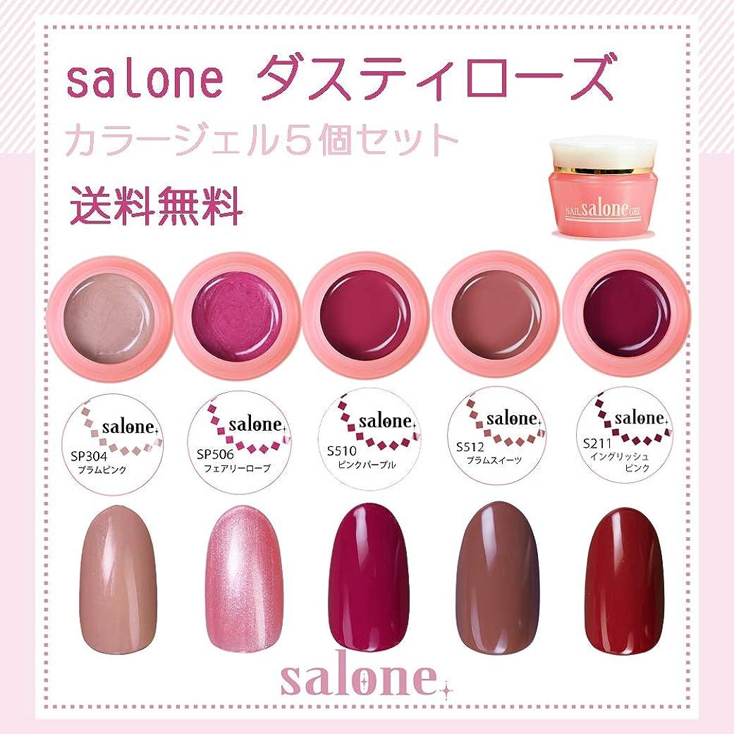 計算資格ルアー【送料無料 日本製】Salone ダスティローズ カラージェル5個セット ネイルのマストカラーのローズ系カラー