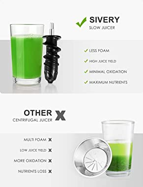 Juicer Machines, SIVERY Slow Masticating Juicer, Easy to Clean, BPA-Free, Quiet Motor, Reverse Function & Cold Press Juic
