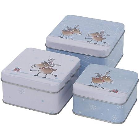 6 9 cm Juego de 3 cajas de metal para galletas CasaJame dise/ño de flores