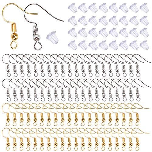 TOAOB 800pcs 18mm Fil d'oreille Crochets Boucle d'oreilles de Bijoux hypoallergéniques Doré K Blanc k avec 4mm Fermoirs Dos en Silicone Transparent Apprêt pour Kit de Fabrication Accessoires
