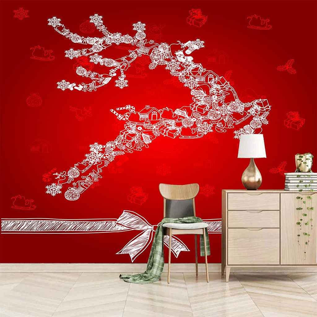 HWCUHL Wall Mural Wallpaper Abstract Fawn Year-end gift Sticker Red Same day shipping Art D