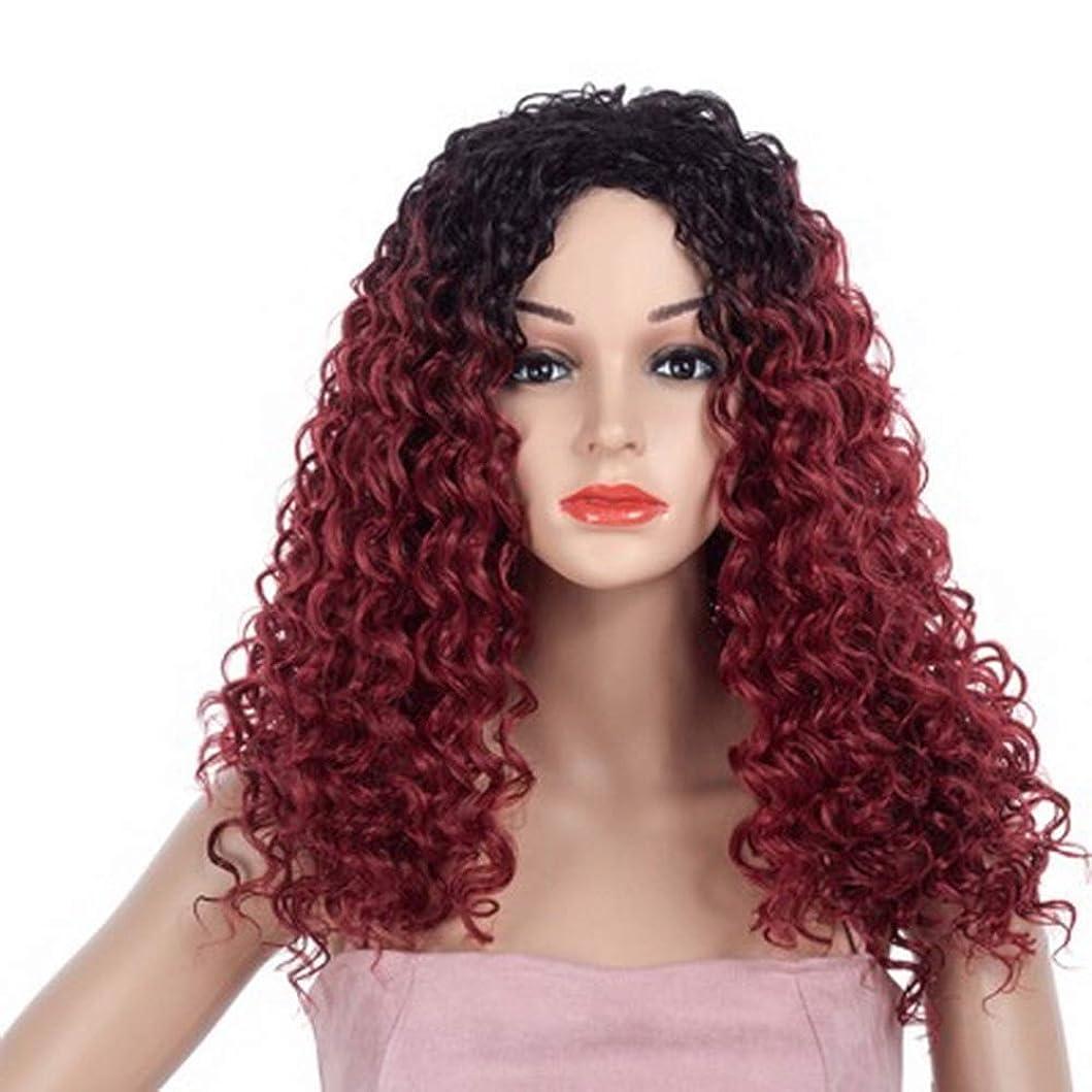 同行するエキゾチック実現可能女性のための色のかつら長いウェーブのかかった髪、高密度温度合成かつら女性のグルーレスウェーブのかかったコスプレヘアウィッグ、女性のための耐熱繊維の髪のかつら、赤いウィッグ23インチ