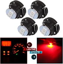 cciyu 4 Pack Super Red 3014 SMD T5/T4.7 Neo Wedge 3 LED A/C Climate Control Light Bulbs Replacement fit for 1999 2000 2001 Saab 9-3