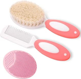 Baby Hair Brush and Comb Set for Newborns & Toddlers | Natural Soft Goat Bristles | Ideal for Cradle Cap | Perfect Baby Re...