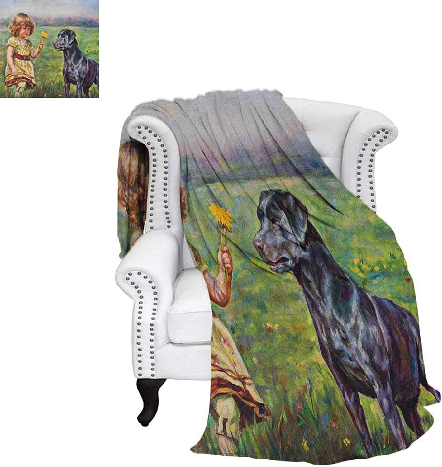 CountryFlannel Single Student blanketPaint of a Cute Little Girl with her Tiny Flower and Dog in The Meadow Pastoral ArtworkStudent Blanket 60 x50  Multi