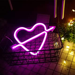 LED Neon Signs for Wall Decor,USB or Battery Operated,Night Lights Lamps Art Decor,Wall Decoration Table Lights,Decorative for Home Party Living Room (Cupid-Pink)