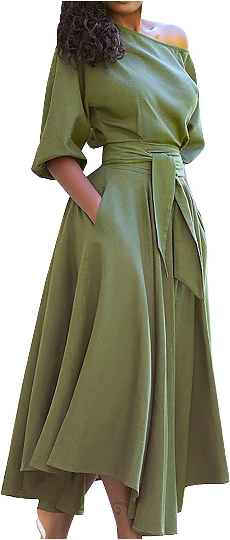 Summer Dress for Women One Shoulder Temperament Pleated Wrap Dre