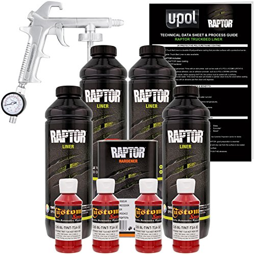 U-POL Raptor Hot Rod Red Urethane Spray-On Truck Bed Liner Kit W/Free Spray Gun, 4 Liters