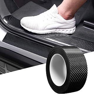 CVANU Car Door Sill Protector Bumper Protector Carbon Fiber Car Wrap Film 5D Gloss Black Vinyl Automotive Wrap Film Self-A...