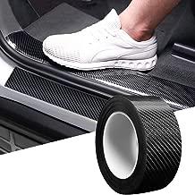 CVANU Car Door Sill Protector Bumper Protector Carbon Fiber Car Wrap Film 5D Gloss Black Vinyl Automotive Wrap Film Self-Adhesive Anti-Collision Film Fits for Most Car (Size 2inch X 60 Feet)