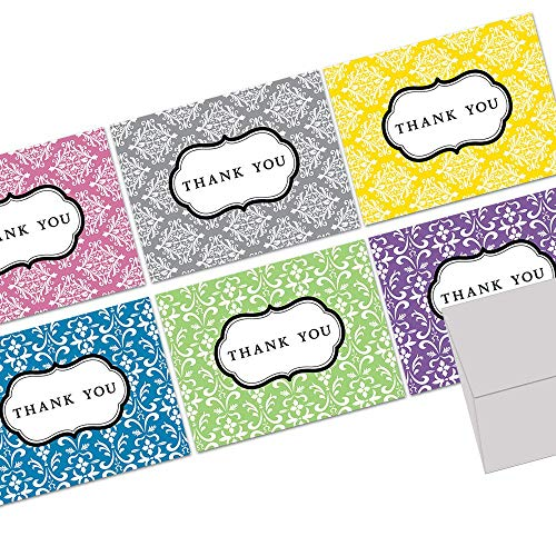 Note Card Cafe Thank You Cards with Gray Envelopes | 36 Pack | Damask Thank You | Blank Inside, Glossy Finish | for Greeting Cards, Occasions, Birthdays, Gifts