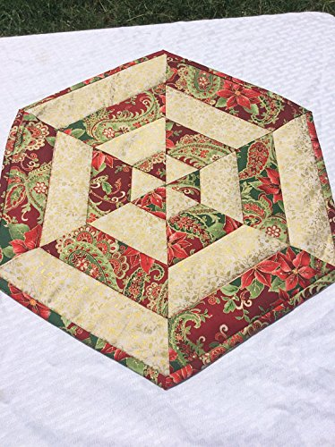 Glittery Christmas Centerpiece Quilted Table Topper Gold Outlined Fabric Homemade Quilt Hexagon End Table