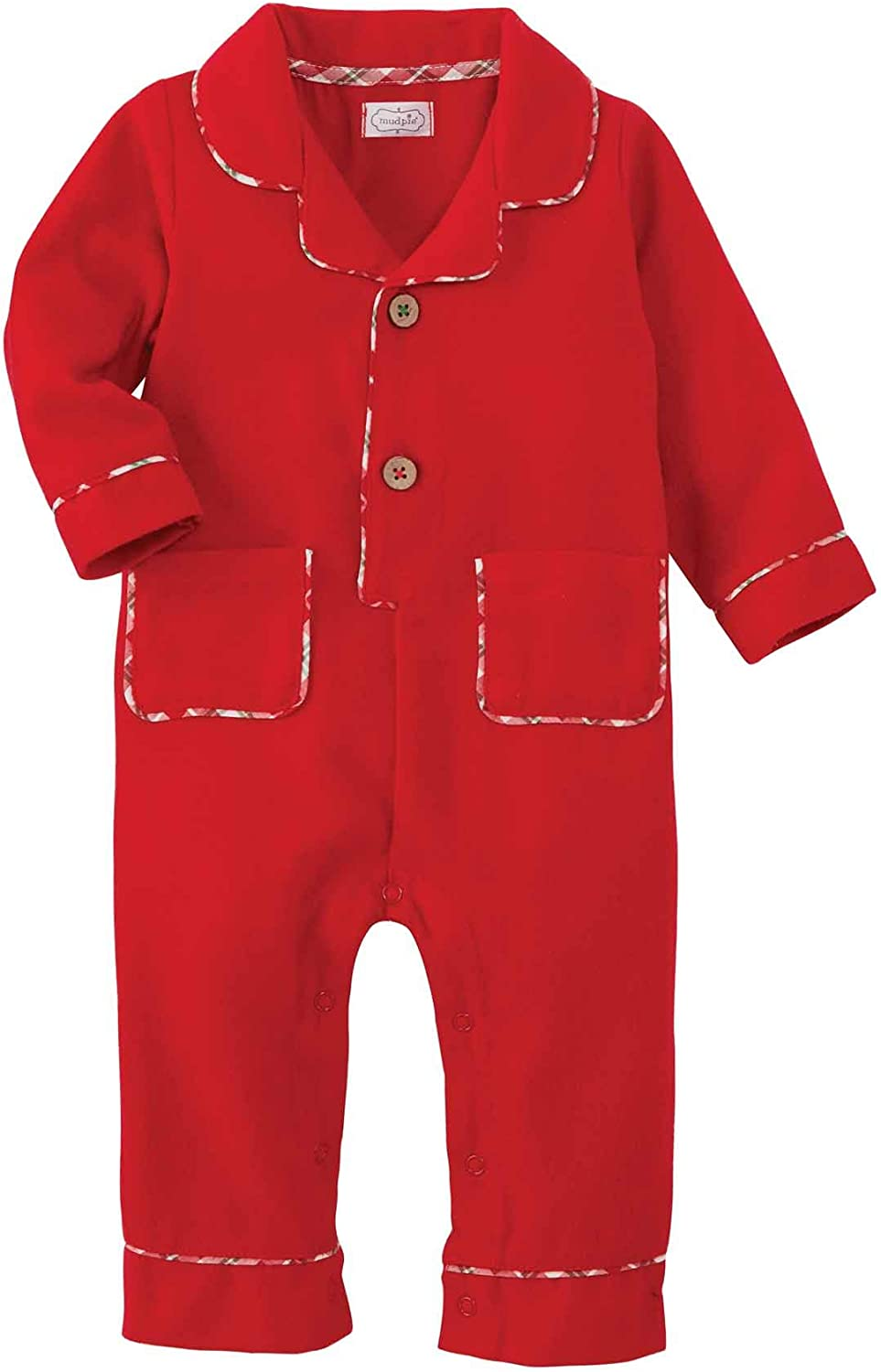 Classic Christmas Baby 1 Pc Red Flannel Pajamas PJs