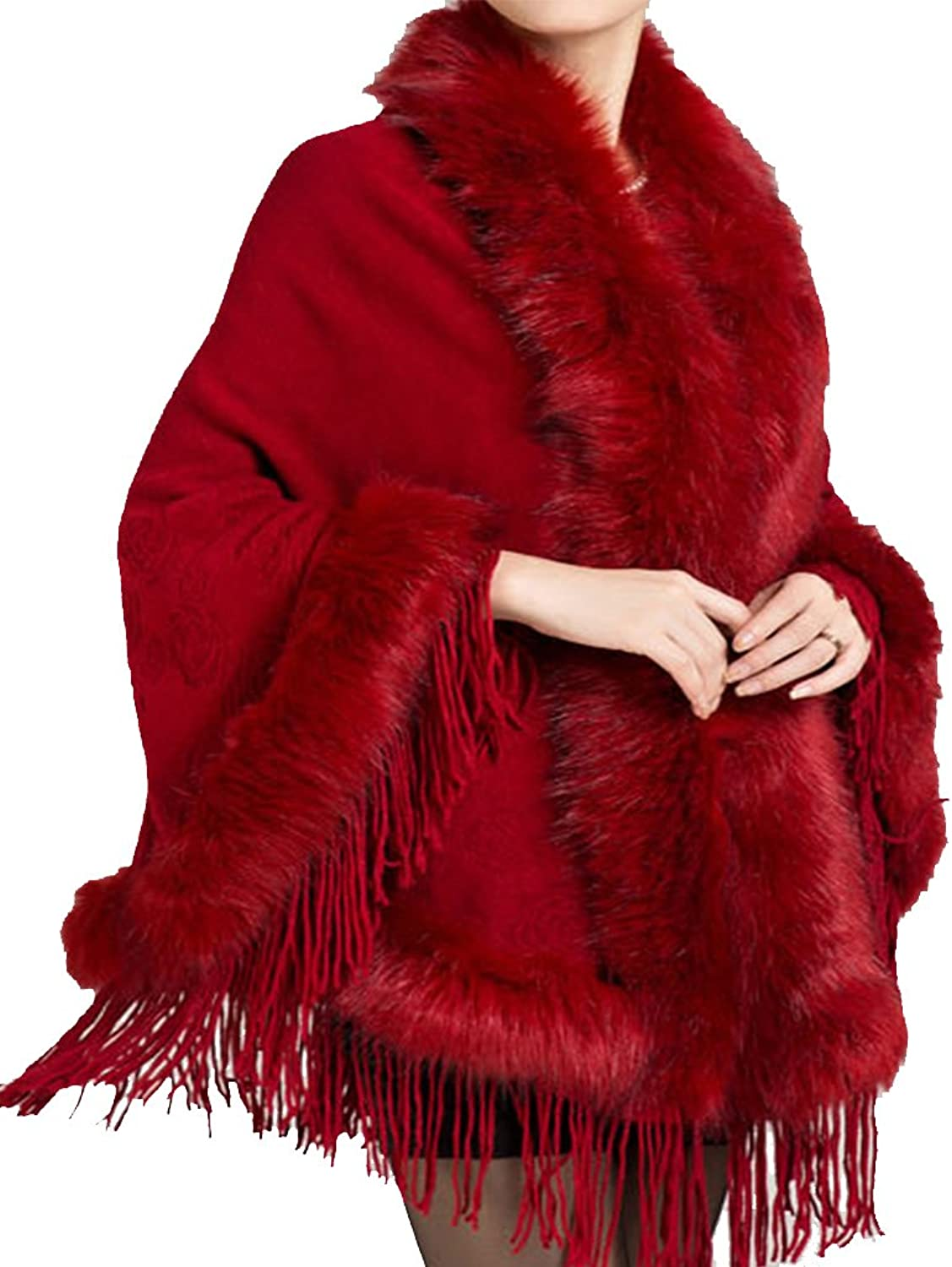 Helan Women's Faux Mink Fur Shawl Cloak Cape Coat With Tassels